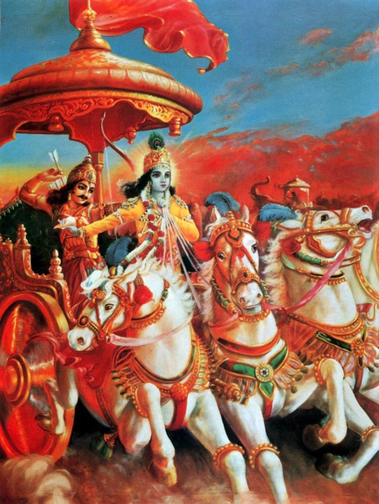 Shri Krishna and Arjuna on the battlefield of Kurukshetra
