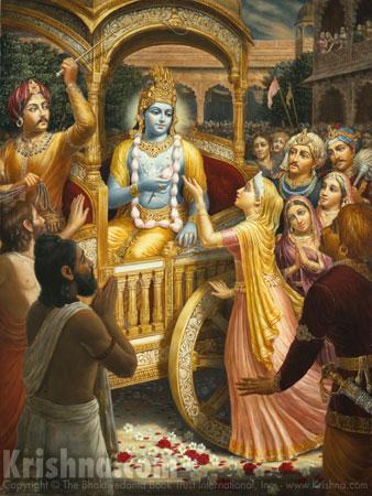 Kunti offers prayers to Krishna.